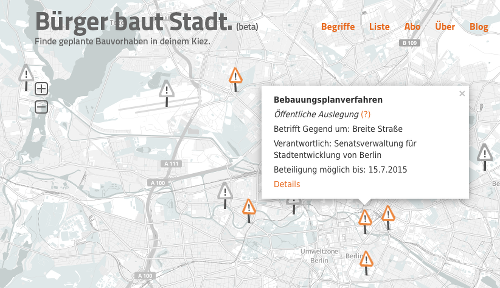 Screenshot der Webapp
