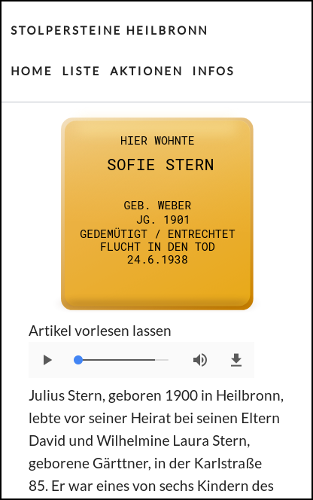 Screenshot Stolpersteine in Heilbronn