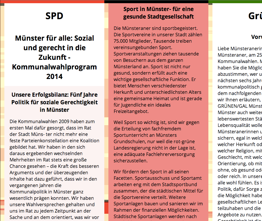 Screenshot Wahlprogramm-Matrix Kommunalwahl Münster 2014